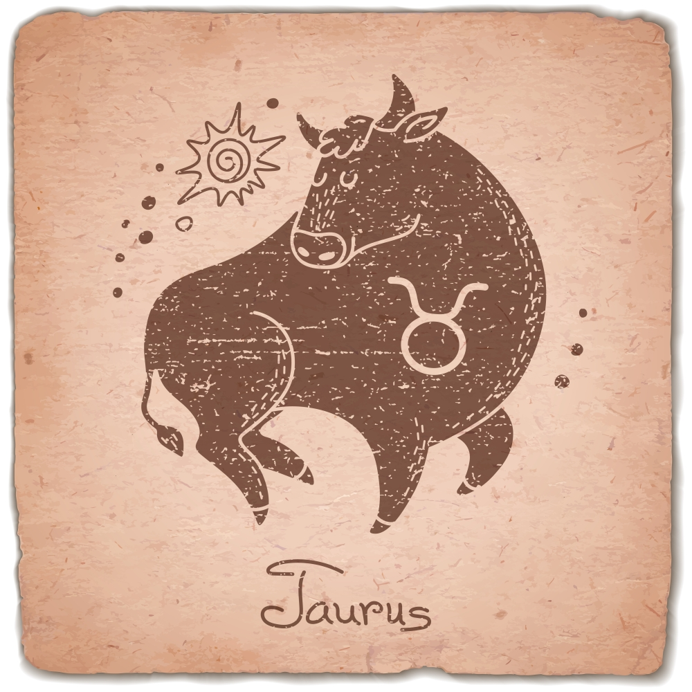 Taurus zodiac sign horoscope vintage card. Vector illustration.