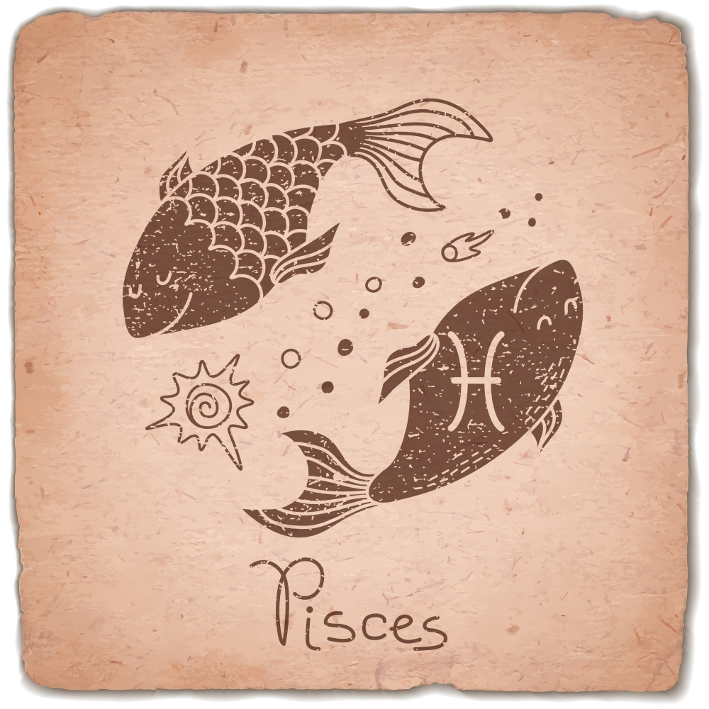 Pisces zodiac sign horoscope vintage card. Vector illustration.