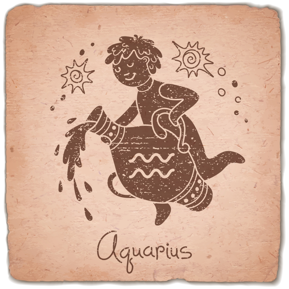 Aquarius zodiac sign horoscope vintage card. Vector illustration.