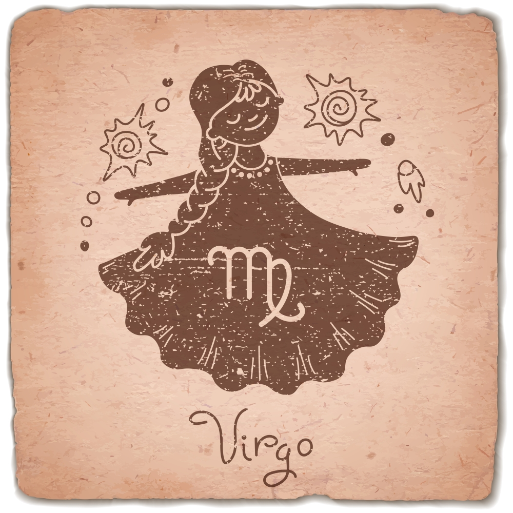 Virgo zodiac sign horoscope vintage card. Vector illustration.