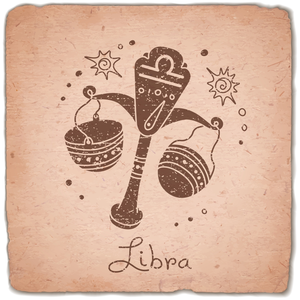 Libra zodiac sign horoscope vintage card. Vector illustration.
