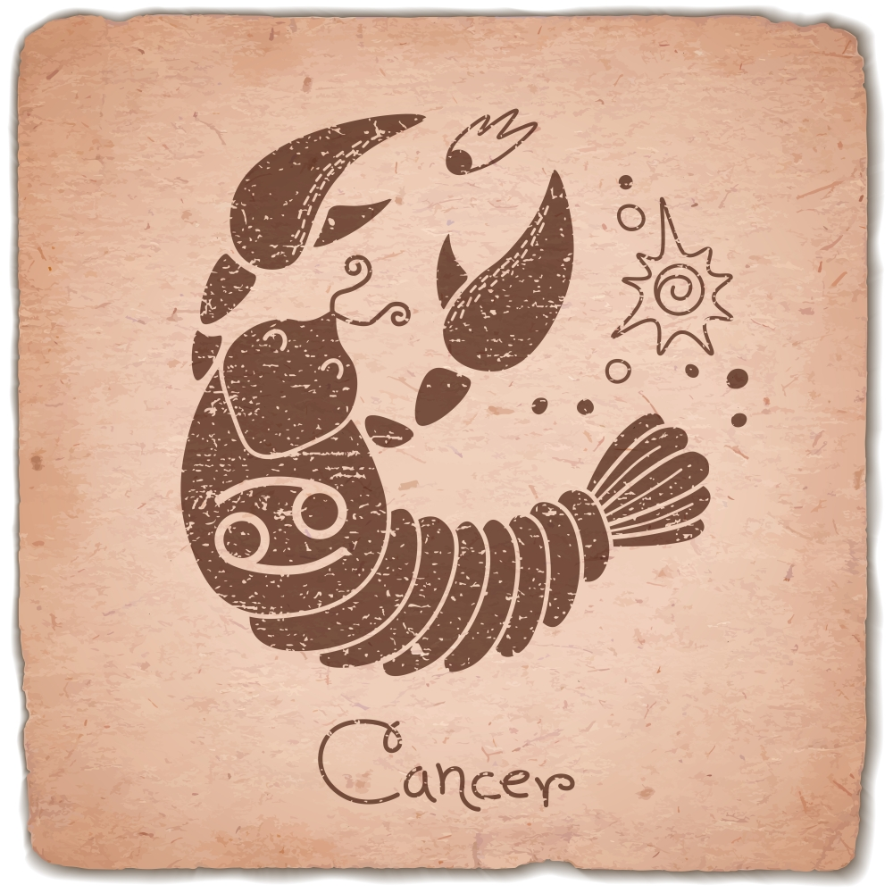 Cancer zodiac sign horoscope vintage card. Vector illustration.