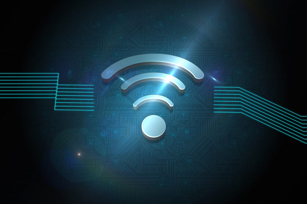 Shiny wifi icon on black background
