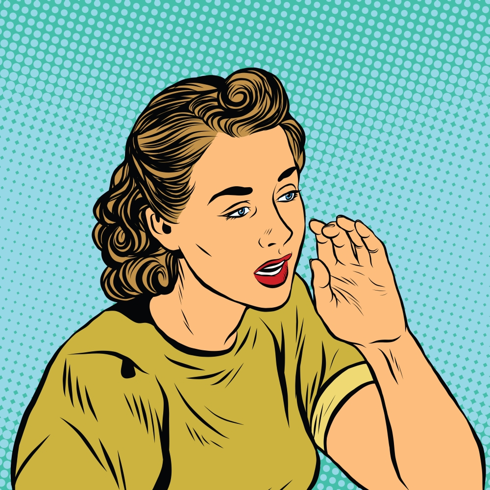 Retro girl whispering a secret pop art vector